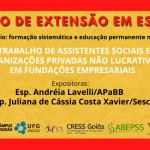 Curso debate trabalho de assistentes sociais em organizações privadas não lucrativas e em fundações empresariais